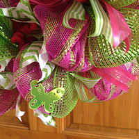 SALE!! Deco Mesh Wreath_Fun Summer Deco Mesh Wreath _Pink and Green Deco Mesh Wreath_mesh wreath_Mesh Door Wreath