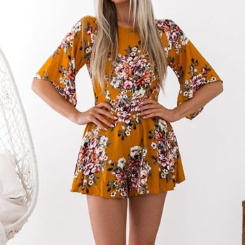 Floral Summer Women Playsuit Sleeveless Turtleneck Backless Jumpsuit Women Rompers Print Casual Female Bodysuit Overalls WS5537P