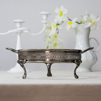 Vintage Casserole Holder: Cottage Chic Round Silver Plated Footed Casserole Dish with Handles, Serving Frame, Hot Dish Carrier, Hallmark