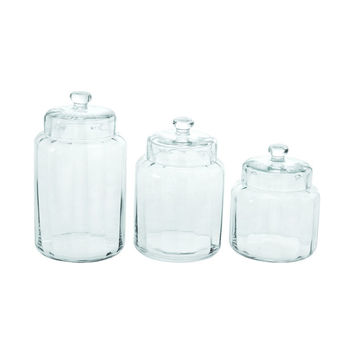 Free and Clear Glass Canisters - Set of 3
