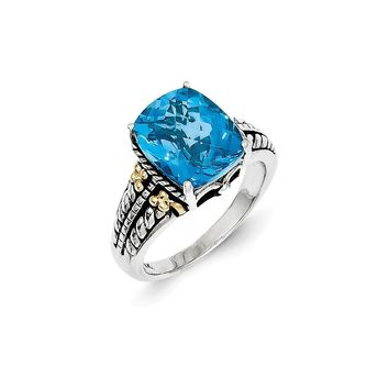 Antique Style Sterling Silver with 14k Yellow Gold 5.65 Swiss Blue Topaz Ring