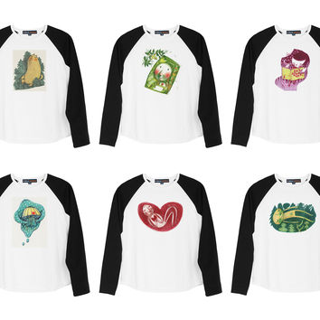 Kid's Oil-paintings Printed 100% Cotton Long Sleeves Raglan T-shirt UTS_01