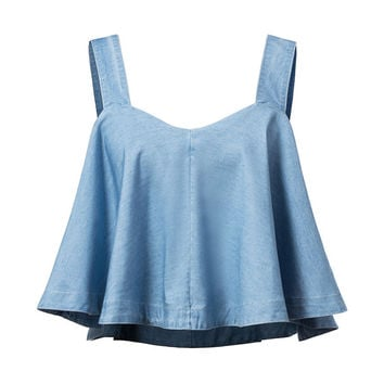 women blue denim camis tank crop tops sexy sleeveless pleated shirts side zipper casual streetwear brand blouses blusas WT361