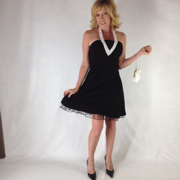 sze 5 / 7   Betsy and Adam 90's Vintage  Halter Cocktail Dress-Not just another little black Dress