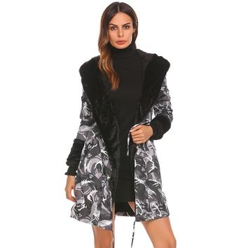 Drawstring Camouflage Faux Fur Hooded jacket