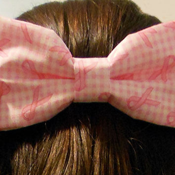 Breast Cancer Awareness Hair Bow with French Barrette