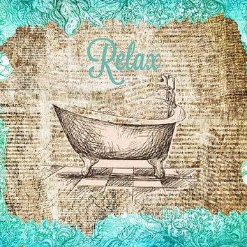 Relax Bathroom Vintage Wall Canvas Art Decor BathTub Wall Art Illustration Turquoise Vintage Paper Newspaper Canvas Print Mixed Media Art