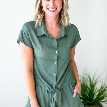Shifting Gears Tie Front Button Top in Olive