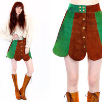 25% OFF SALE Vtg 70s Suede Leather Patchwork Hippie Boho Mod Scalloped Mini Skirt XS