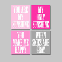 Hot Pink Grey Gray - You Are My Sunshine 8x10 Set of 4 Wall Art Decor Prints Poster Nursery Child Kid Room Typography