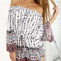 White Tribe Printed Romper