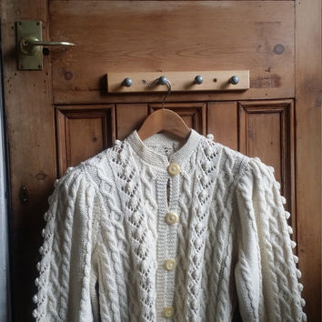 Vintage Aran cardigan size 12 / 14 medium knitwear cream white jumper ladies lace sweater hand knitted Dolly Tospy Etsy UK