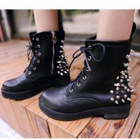 Black Suede Low Heel Ankle Boots Shoes S006643
