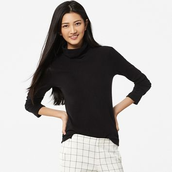 WOMEN HEATTECH FLEECE TURTLENECK LONG SLEEVE T-SHIRT | UNIQLO
