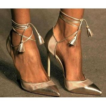 Shinning Ankle Wrap Straps Tassels Pointed Toe Stiletto High Heels
