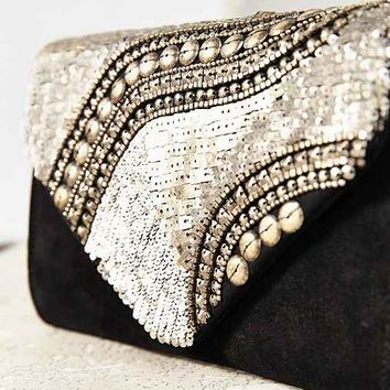 Ecote Embellished Envelope Clutch- Grey One