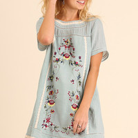 Floral Embroidered Lace Trim Boho Tunic in Light Blue by Umgee