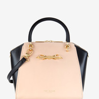 Slim bow leather tote bag - Taupe | Bags | Ted Baker UK