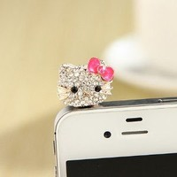 MoMo Store Crystal Rhinestones Hello Kitty Earphone Jack/Dust Plug for Iphone 4, 4s, Samsung / HTC / All Device with 3.5mm Jack RED (US seller)