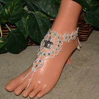 Crochet Turtle Barefoot Sandals, Footless, Beach Foot Jewelry, Anklet, Yoga, Dance, Women's Shoe Accessories