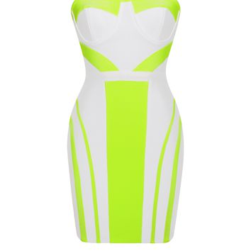 Strapless Bustier White and Neon Green Bandage Dress