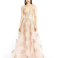 Lamé Bow Embroidered Tulle Gown