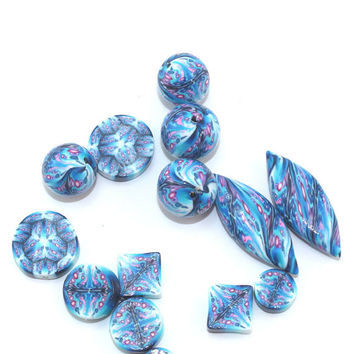 Blue kaleidoscope beads, polymer clay combination set of Millefiori pattern in turquoise, pink and white, set of 7 pairs of elegant beads