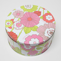 Pink Flowers Green Stems Clinique Tin with Lid Makeup Stash