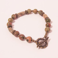 Unakite & Antique Brass Bracelet