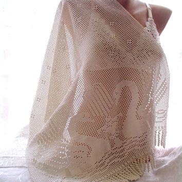 crochet lace shawl, lace swan shawl, snow white shawl, handmade shawl, bridal cover up, wedding wrap, wedding shawl