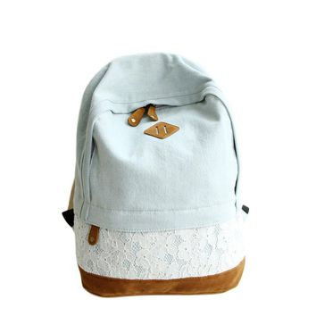 Korean Floral Lace Denim Canvas Printing Backpack Women School Bags for Teenage Girls Bookbags Vintage Laptop Backpacks Female