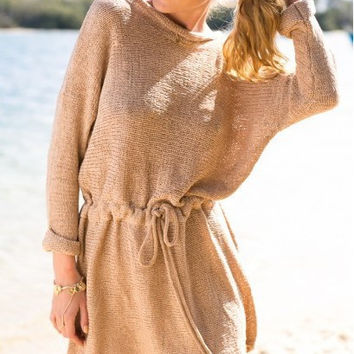 Plain Long Sleeve Drawstring Knitted Dress