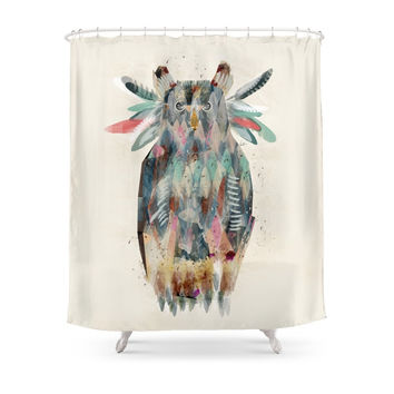 Society6 The Native Owl Shower Curtains