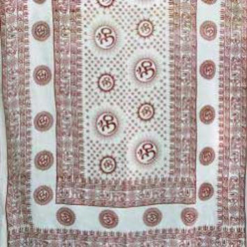 "Om 44""x 87"" White Prayer Shawl"