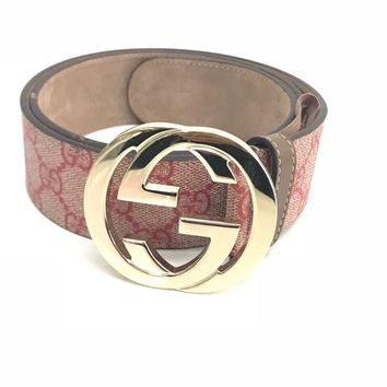 Gucci Red Monogram Gg Supreme Belt 85 | 34