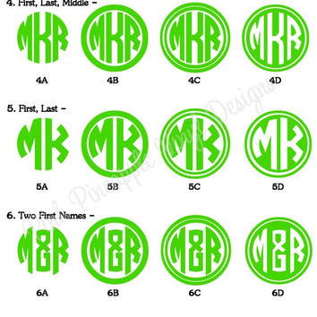 Set of Two - 2 inch Custom Monogram Decals - fits back of iPhone