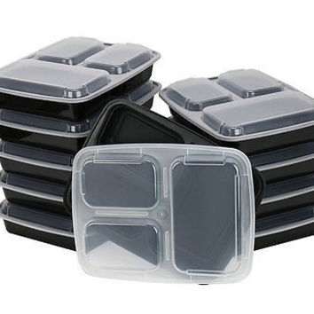 ChefLand 3-Compartment Microwave Safe Food Lunch Tray Cover 10-Pack