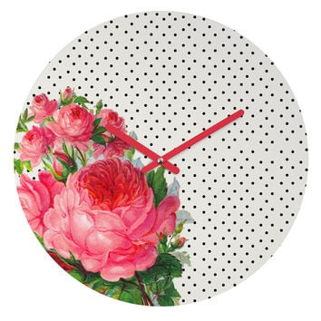 Allyson Johnson Floral Polka Dots Round Clock