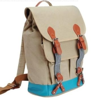 BEIGE Canvas Backpack School Bag PU Pleather Trim Two Tone! COOL!:Amazon:Everything Else