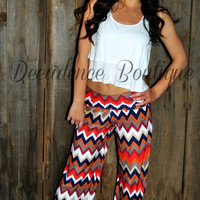 PARIS PALAZZO PANTS IN RED/BLUE MULTI