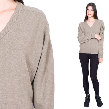 Soft Cashmere Sweater Pale Khaki V Neck Vintage 1980s