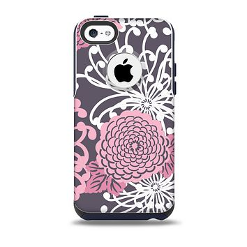The Pink and White Solid Flowers Skin for the iPhone 5c OtterBox Commuter Case