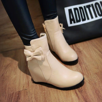 On Sale Hot Deal Winter Stylish Butterfly Decoration Height Increase Plus Size Boots [6366199684]