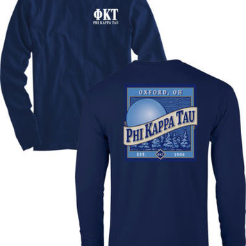 Phi Kappa Tau Fraternity AMERICAN APPAREL Long Sleeve Navy Beer PKT Shirt NEW