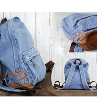 Cute Men's Women's Vintage Denim Satchel Backpack Rucksack Shoulder School Bag