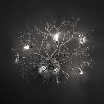 Roots ,Handmade Wall Light made of pewter wires.