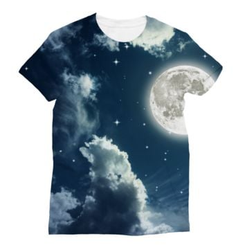 Cloudy Night Sky With a Full Moon AWDis Sublimation T-Shirt