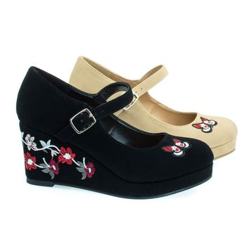 AppIIs Black By Soda, Girl Floral Embroidered Platform Wedge Mary-Jane Pump. Children Kid Shoe