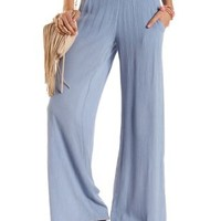 Blue Gauzy High-Waisted Palazzo Pants by Charlotte Russe
