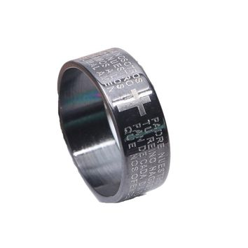 Women's Stainless Steel Bible Lord's Prayer Cross Ring